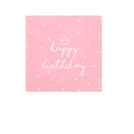 Serviette Papier Happy Birthday Rose x20