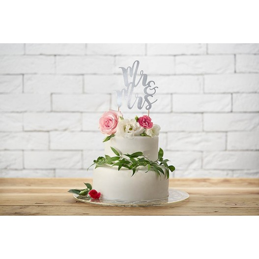 Cake Topper Mr & Ms Argent 25,5 cm