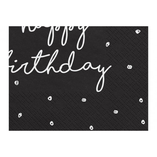 Serviette Papier Happy Birthday Noir x20