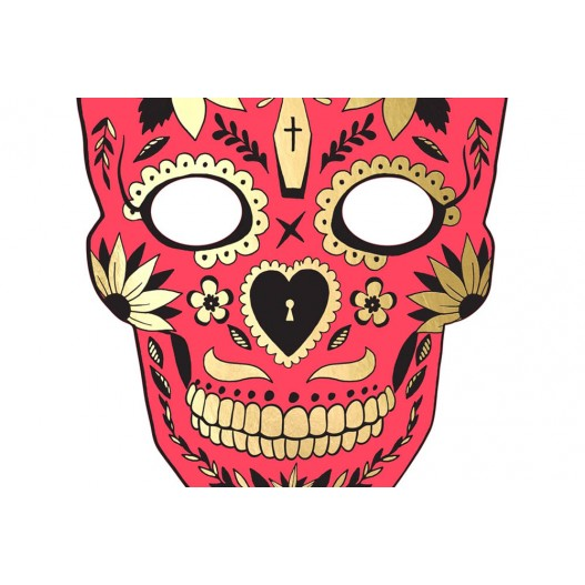 Masque Photo Booth Carton Dia de Los Muertos Rouge