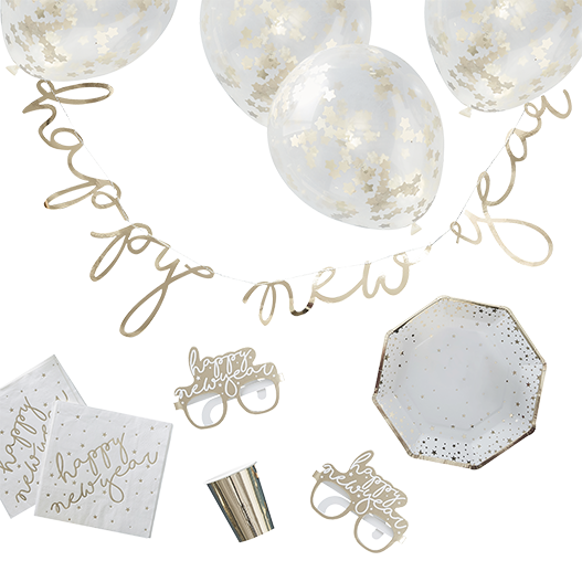 Kit Deco Carton Happy New Year Or x62