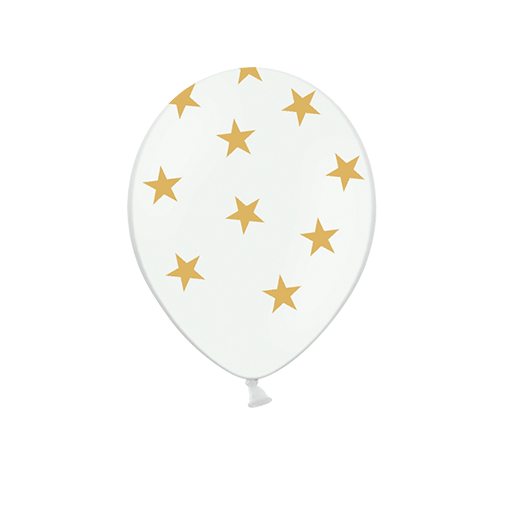 Ballon Latex Etoiles Blanc et Or x6