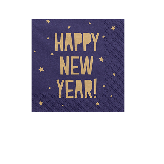 Serviette Papier Happy New Year Bleu Navy x20
