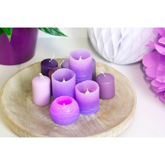 """Lilac Round Wax LED Candle 2"""""""