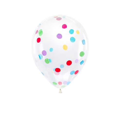 Ballon Confettis Transparent et Multicolore 30 cm x6