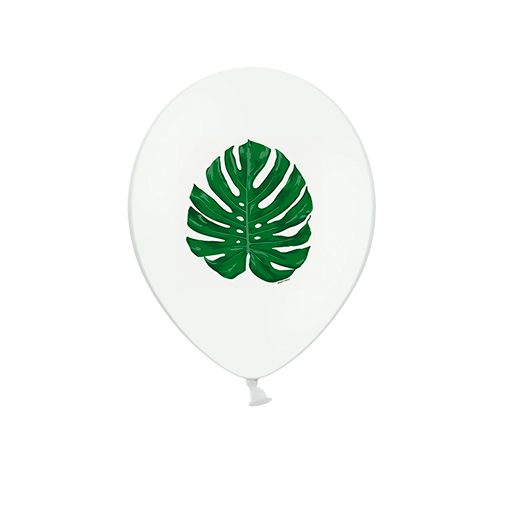 Ballon Latex feuille tropicale monstera Blanc et Vert x6