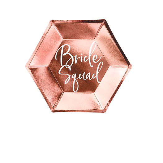Assiette Hexagonale Bride Squad Rose gold x6