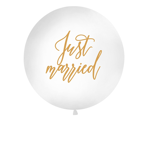 Ballon Geant Just Married Blanc et Or 1 m