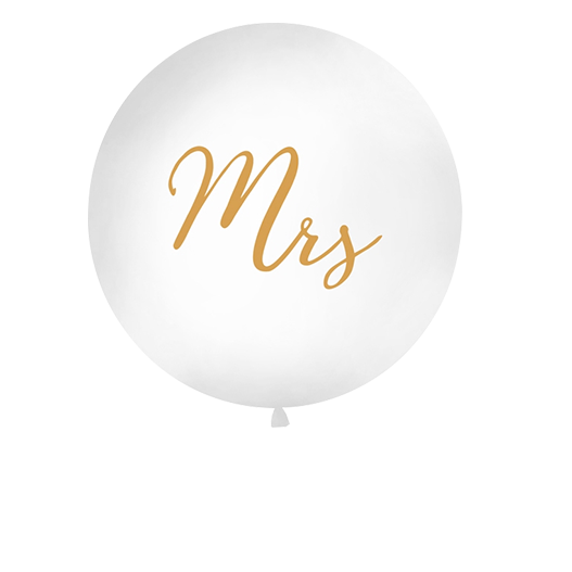 Ballon Geant Mrs Blanc et Or 1 m