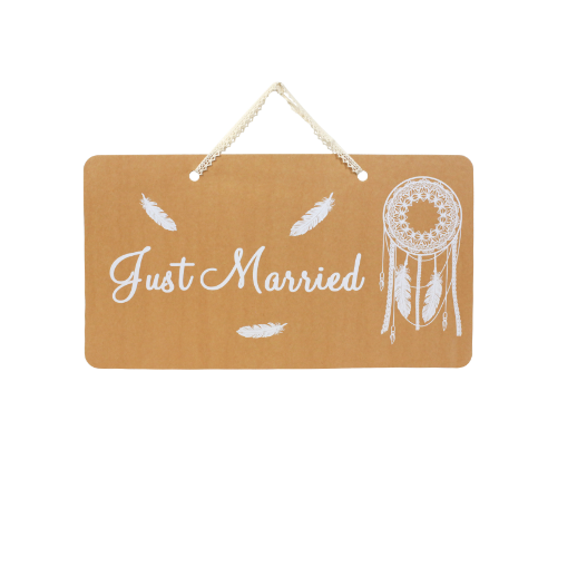 Pancarte Kraft Just Married Boho naturel