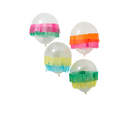 Ballon Transparent et franges Multicolores 30 cm x5