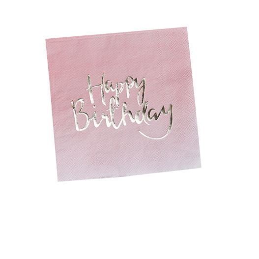Serviette Papier Happy Birthday Rose et Or x20