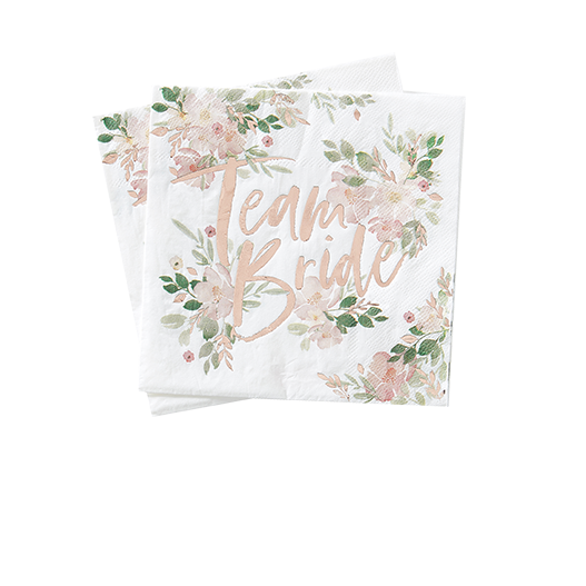 Serviette Papier Team Bride Rose gold et Blanc x16