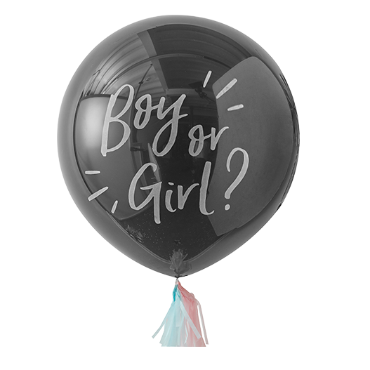 Ballon Gender Reveal Party Boy or Girl Noir et Blanc 90 cm