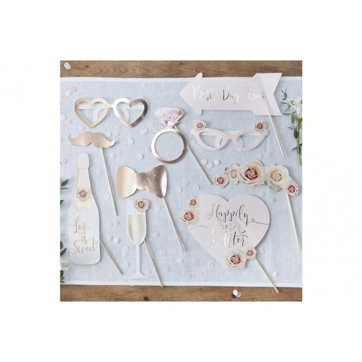 Photobooth Blanc Chic Rose gold 10 pièces