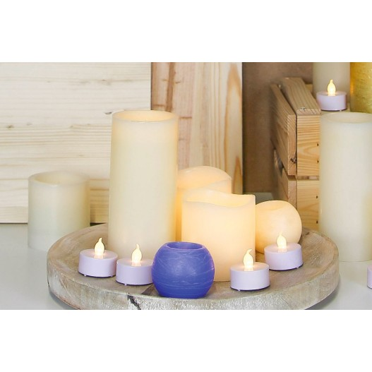 """Ivory Battery LED Wax Pillar Candles With Timer 4"""""""