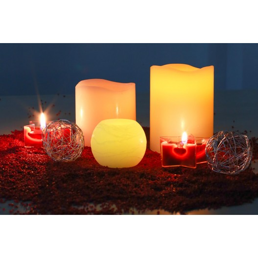"""Waves Ivory LED Wax Pillar Candles With Timer 4"""""""