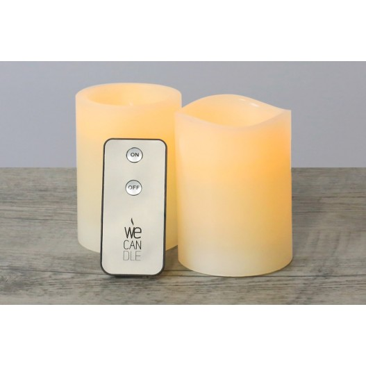 Ivory Battery LED Wax Pillar Candles With Timer 6""