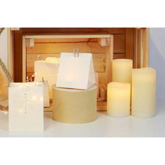 Ivory Battery LED Wax Pillar Candles With Timer 12""