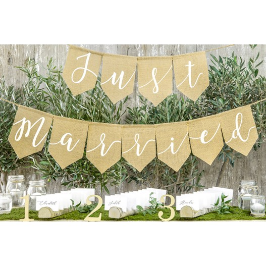 Guirlande Jute Just Married Naturel
