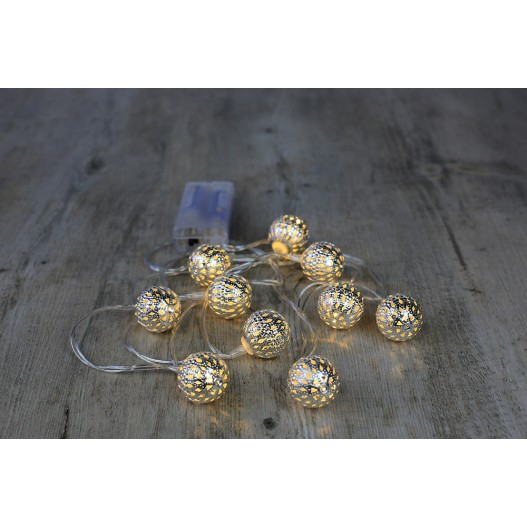 Guirlande Lumineuse Grandes Boules Marocaines Argent