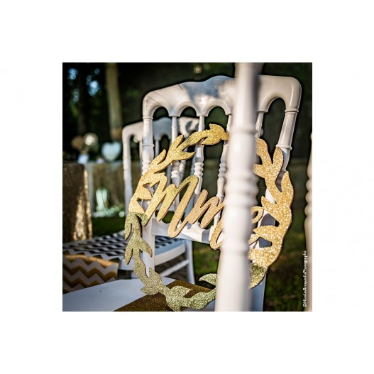 Deco Chaise Mariage Bois Mr Mme Or 40 cm x2
