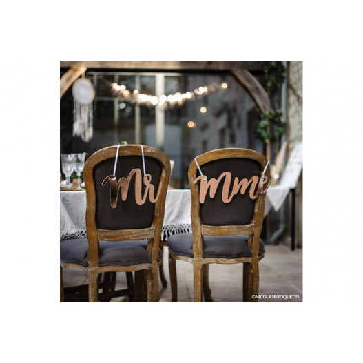 Deco Chaise Mariage Mr Mme Rose Gold x2