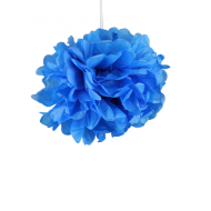 "Royal Blue Paper Pom Poms 8"" x2"