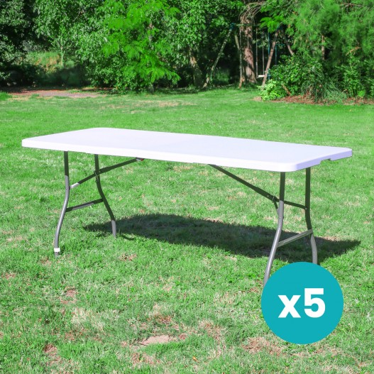Lot de 5 Tables de Jardin Pliantes 180x74 cm Blanc