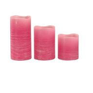 3 bougies LED rustiques Rose