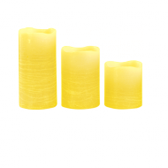 Yellow Pillar Wax Candle X3