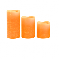 Orange Pillar Wax Candle X3