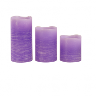 Lilac Pillar Wax Candle X3