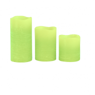 Apple Green Pillar Wax Candle X3