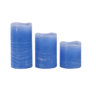 Royal Blue Pillar Wax Candle X3