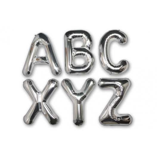 """Letter Balloon F Silver 36"""""""