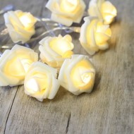 White Roses Fairy Lights
