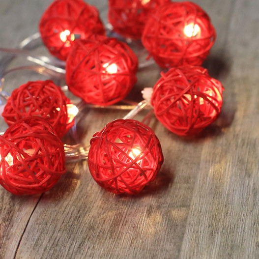 Red Rattan Fairy Lights