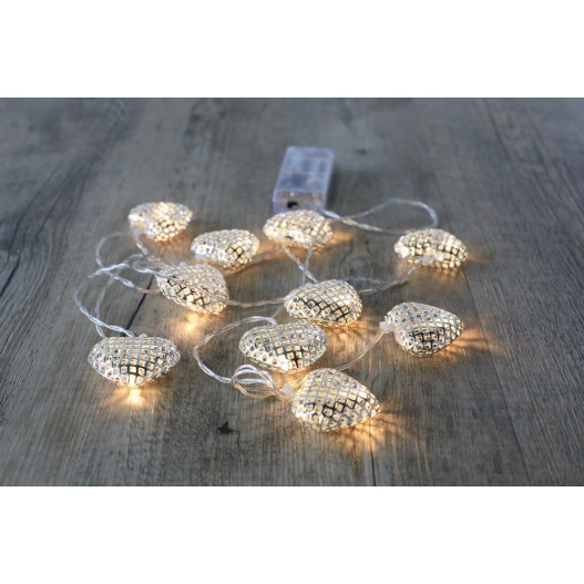 Silver Metal Heart Fairy Lights