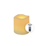 Waves Ivory LED Wax Pillar Candles With Timer 4""