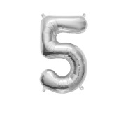 """Number Balloon 5 Silver 14"""""""