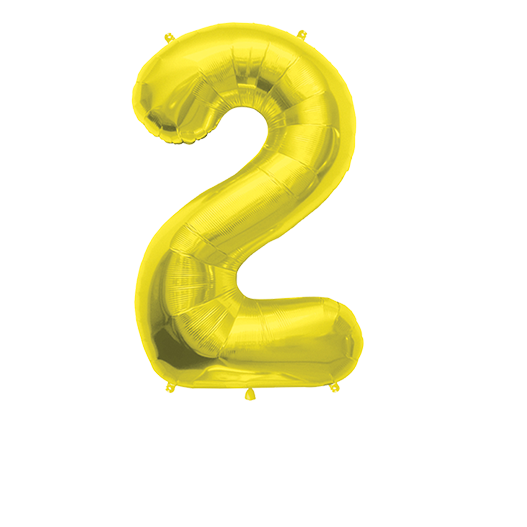 """Number Balloon 2 Gold 36"""""""