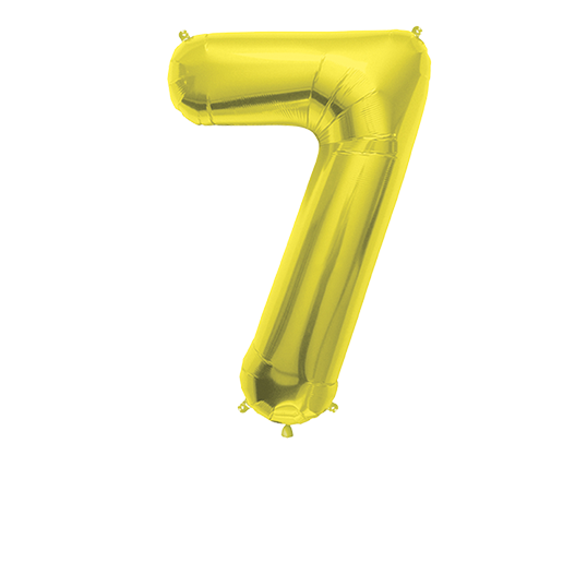 Number Balloon 7 Gold 36""