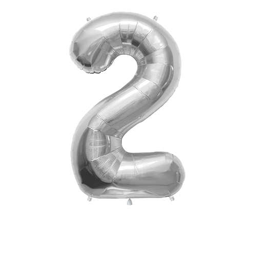 """Number Balloon 2 Silver 36"""""""