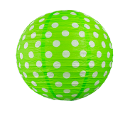 Apple Green Round Paper Lantern Polka 16""