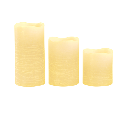 Ivory Pillar Wax Candle X3