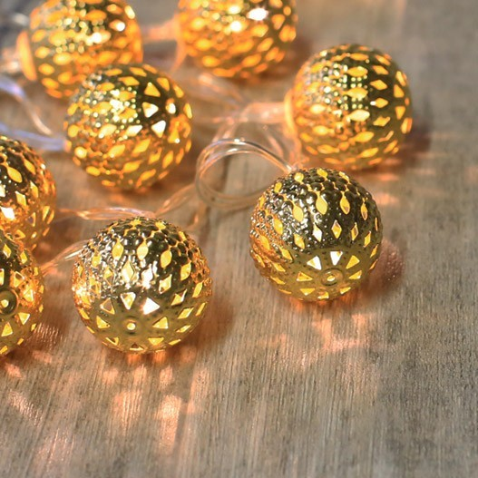 Guirlande Lumineuse Boules Marocaines Or