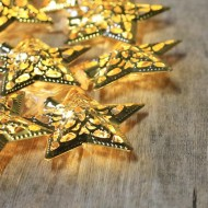 Gold Metal Star Fairy Lights