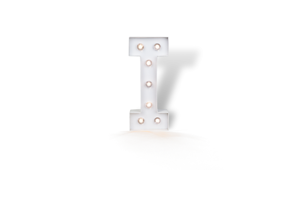 lettres led lumineuse i blanc 25cm. Black Bedroom Furniture Sets. Home Design Ideas