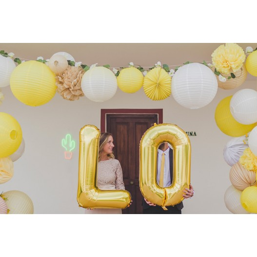 Letter Balloon V Gold 36""